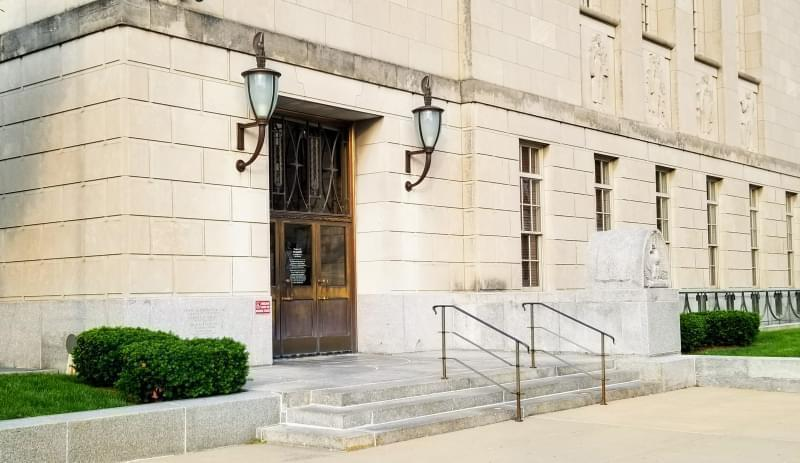 Entrance to the Federal Building & U.S. Courthouse in downtown Peoria.