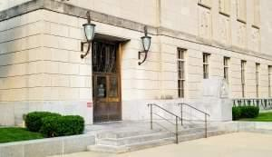 Entrance to the Federal Building and U.S. Courthouse in downtown Peoria.