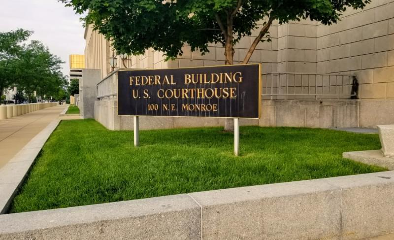 Peoria federal courthouse sign.