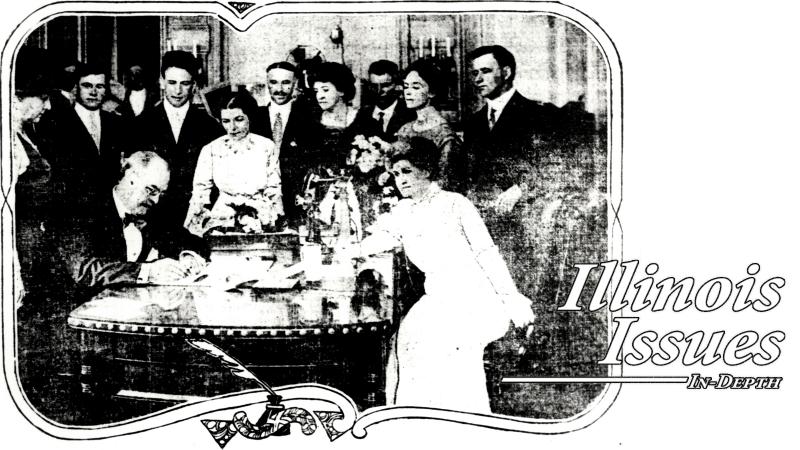 historical photo of suffrage legislation