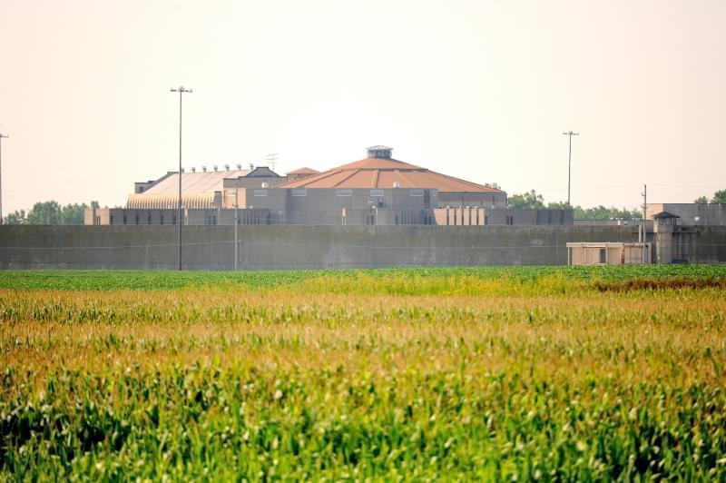 An image of a crop field with a large prison wall behind it.