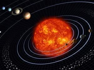 The Solar System, (not to scale) showing the Sun, Inner Planets, Asteroid Belt, Outer Planets, and a comet.
