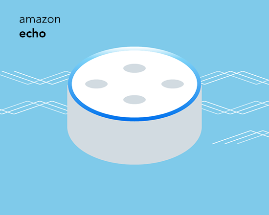 graphic image of an Amazon Echo device