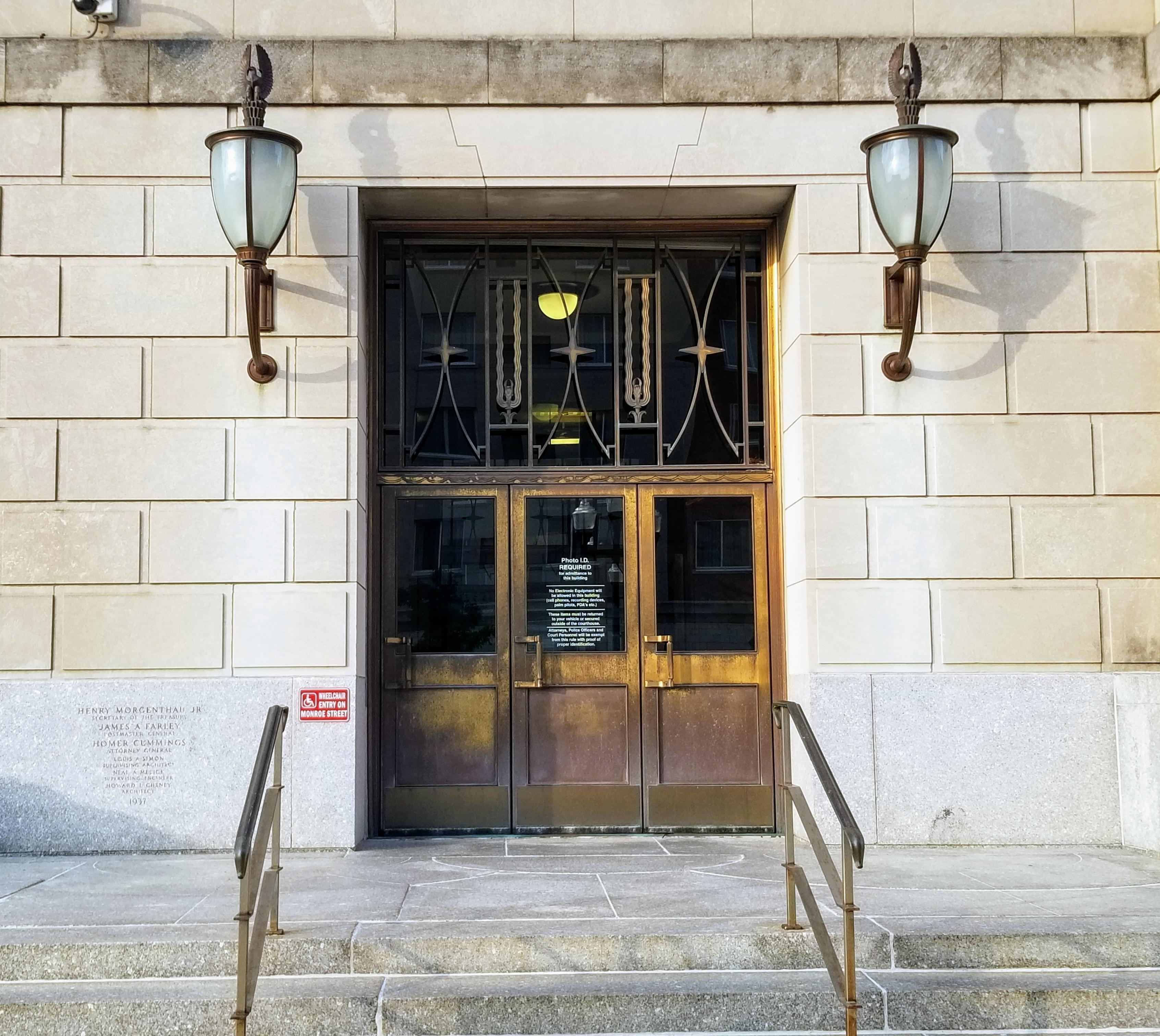 Entrance to U.S. Federal Building and Courthouse, Peoria.