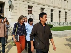 Yingying Zhang's parents leave the federal courthouse in Peoria on Monday.