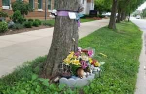 Unofficial Yingying Zhang Memorial at the campus bus stop where she was last seen.