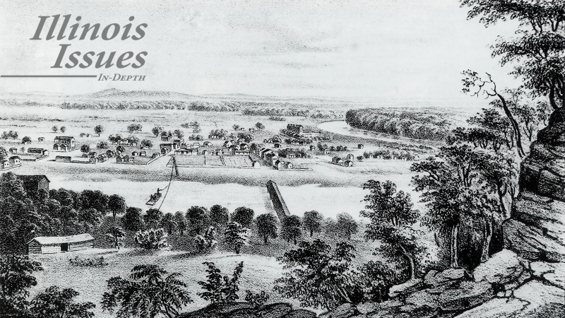 View of Kaskaskia, 1841. Lithograph by J. C. Wild, from J. C. Wild and L. F. Thomas, The Valley of the Mississippi Illustrated in a Series of Views (St. Louis: Chambers and Knapp, 1841).