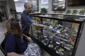 A patient visits Salveo Health and Wellness, a licensed medical cannabis dispensary, in Canton, Ill.