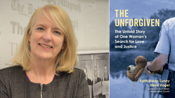 Edith Brady-Lunny with the cover of her book, The Unforgiven