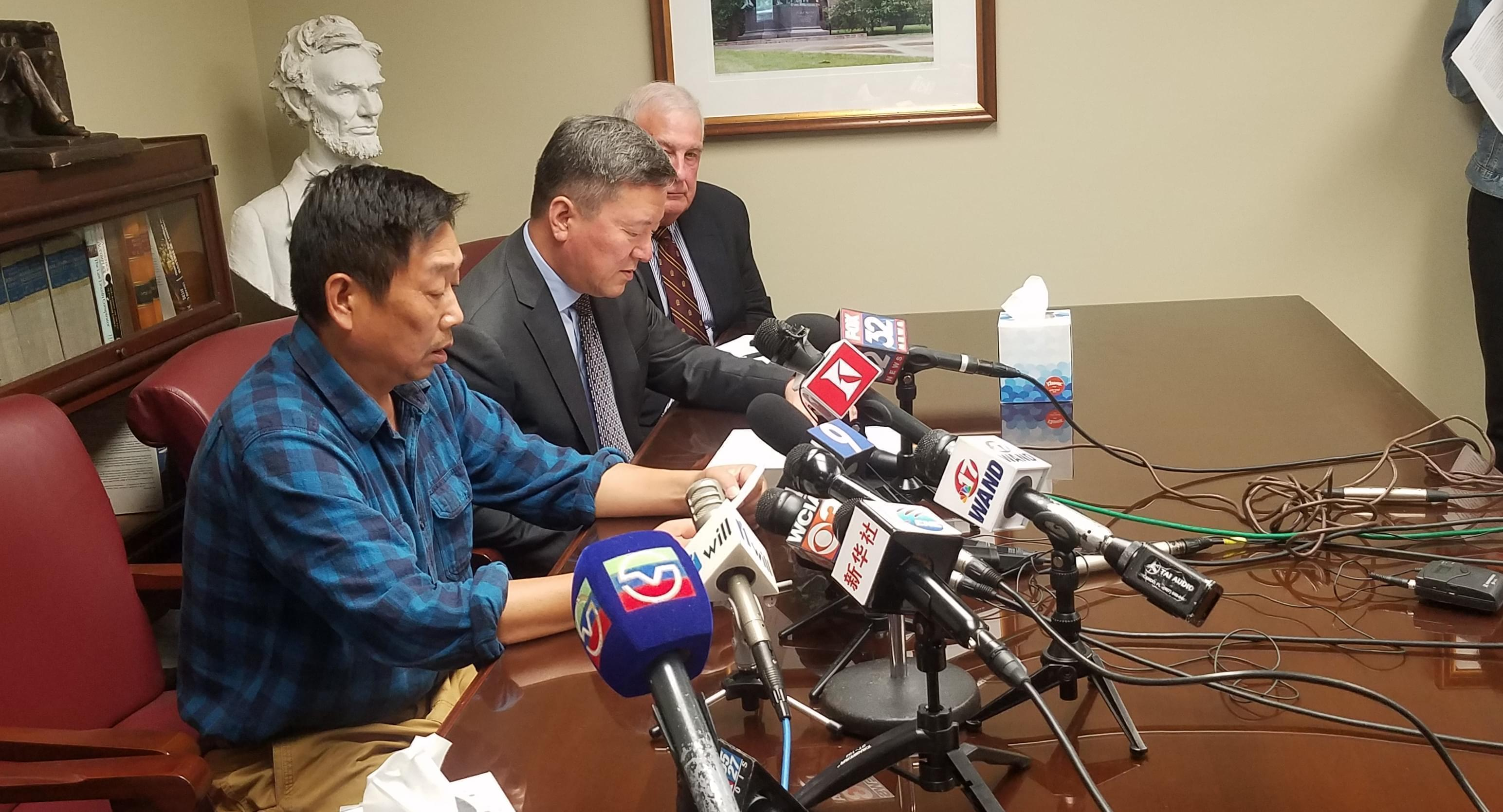 Ranggao Zhang, father of Yingying Zhang, reads a statement about the family's hopes for recovering her remains.