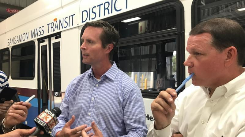 U.S. Rep. Rodney Davis talks about responses to recent mass shootings in Springfield Wednesday.