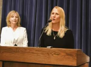 Denise Rotheimer, left, appears next to Maryann Loncar, another woman who accused a state senator of sexual harassment.