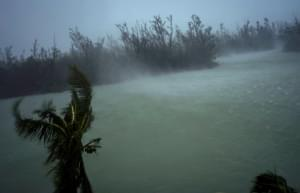Strong winds seen from the balcony of a hotel in Freeport, Grand Bahama, where Hurricane Dorian hovered most of Monday, pummeling the islands with a fearsome Category 4 assault.