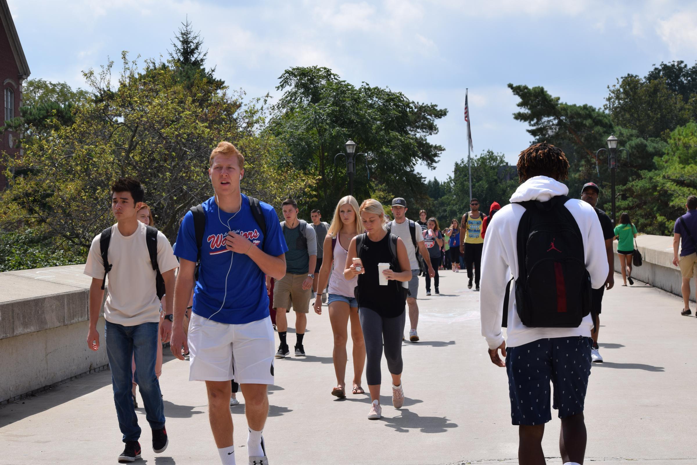 ISU students walking on the quad.