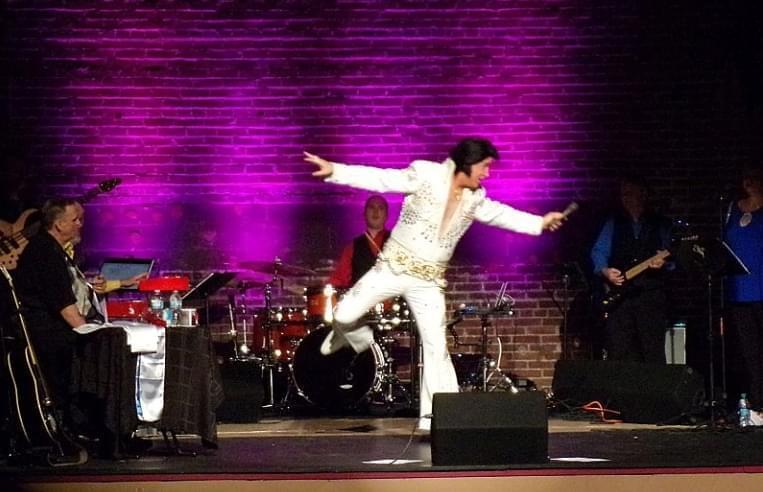 Elvis tribute artist Doug Church at the Lorraine Theatre, Hoopeston.