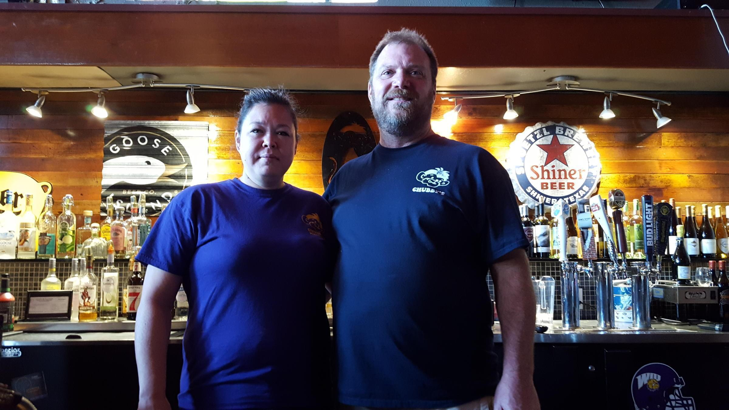 Tammy Yates and Chad Hunziker behind the bar at Chubby's in Macomb.