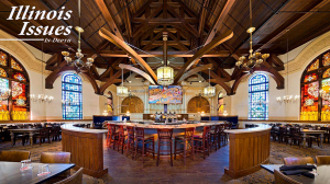 The interior of Obed and Issac's Peoria, a restaurant built inside a converted Presbyterian church