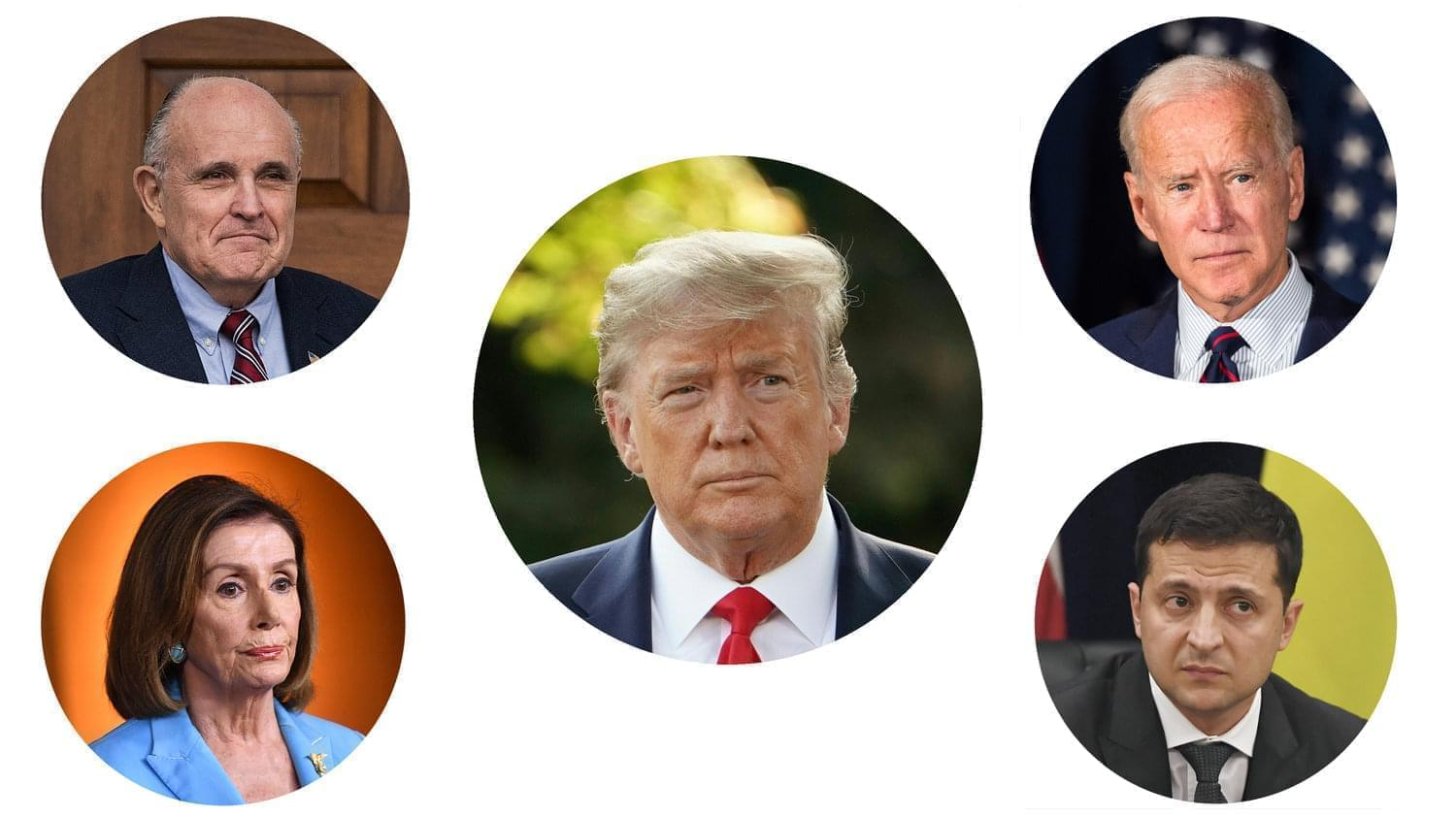 Clockwise from top left: Rudy Giuliani, Donald Trump, Joe Biden, Ukrainian president Volodymyr Zelenskiy and House Speaker Nancy Pelosi.