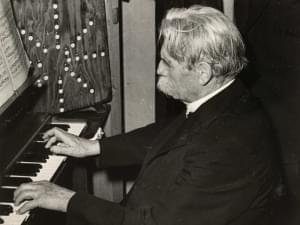 Albert Schweitzer plays piano.