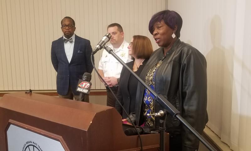 Mary Brown, whose son, Rashini Overstreet was killed by gun violence, talks to reporters following Thursday's CU Fresh Start Call-In in Champaign.