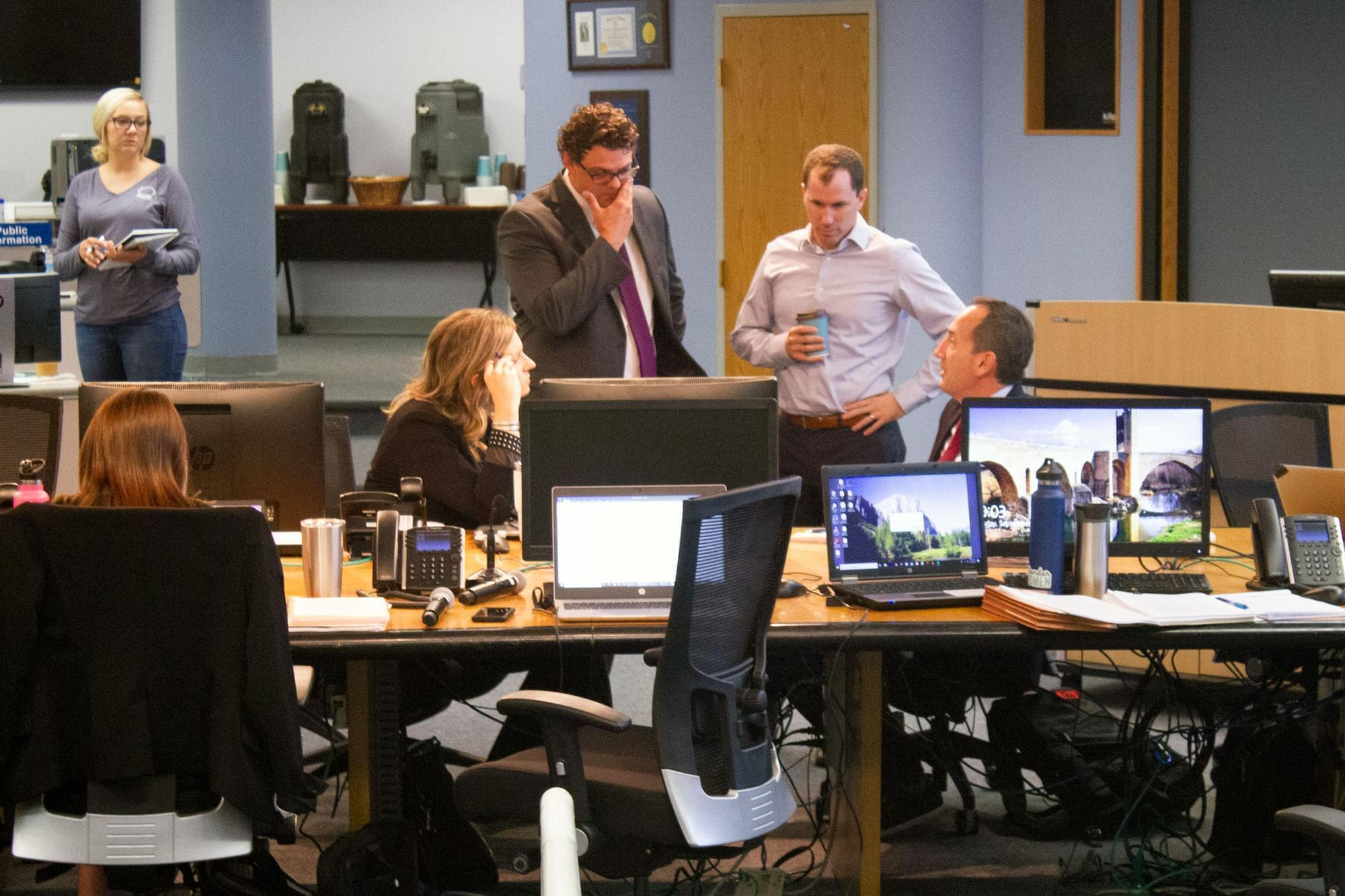 Farmers, state and federal agriculture department officials, law enforcement and others convened at Iowa's State Emergency Operations Center.