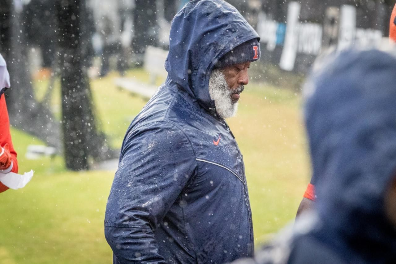 Illinois coach Lovie Smith looks on through the raindrops during the Illini's 24-6 win at Purdue.
