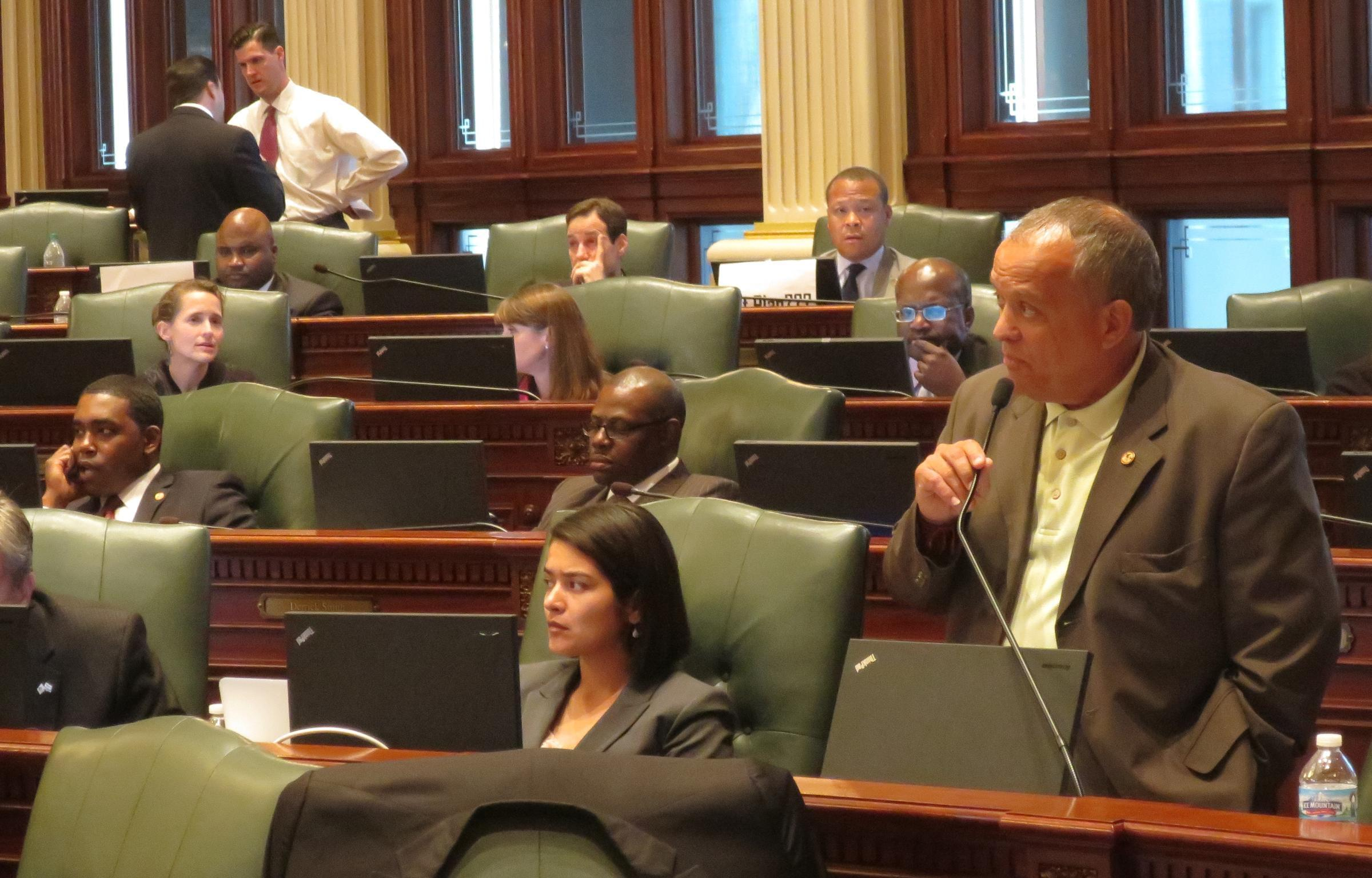 Rep. Luis Arroyo presents budget legislation on the floor of the Illinois House in this file photo from May 27, 2014.