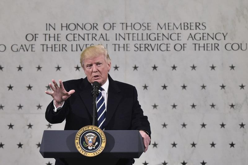 President Trump speaks at CIA headquarters in Langley, Va., on Jan. 21, 2017, his first full day in office.
