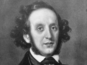 Black and white portrait of Felix Mendelssohn.