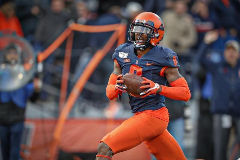 Illinois linebacker Dele Harding finds the endzone after a 55-yard interception return in the Illini's 38-10 win over Rutgers.