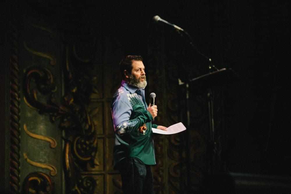 Nick Offerman on stage.