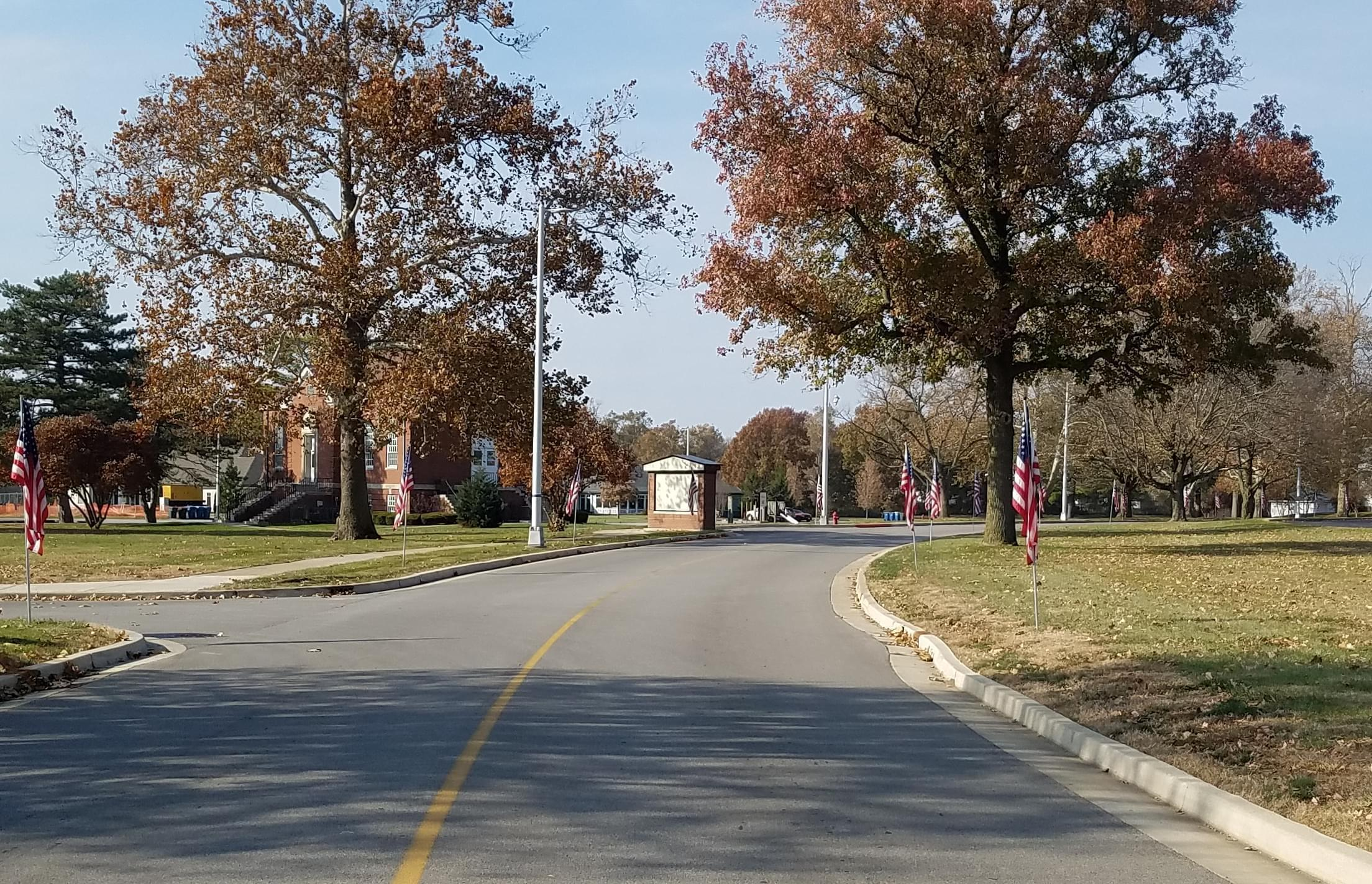 A flag-lined Blue Star Highway on the campus of the V.A. Illiana Health Care System campus in Danville.