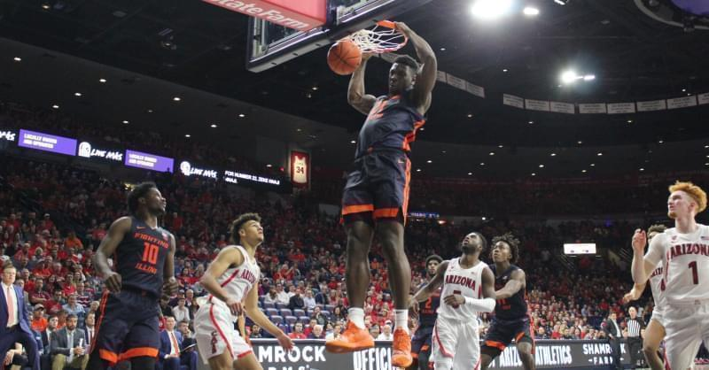 Illinois freshman Kofi Cockburn dunks home two of his nine points during the Illini's 90-69 loss at Arizona.