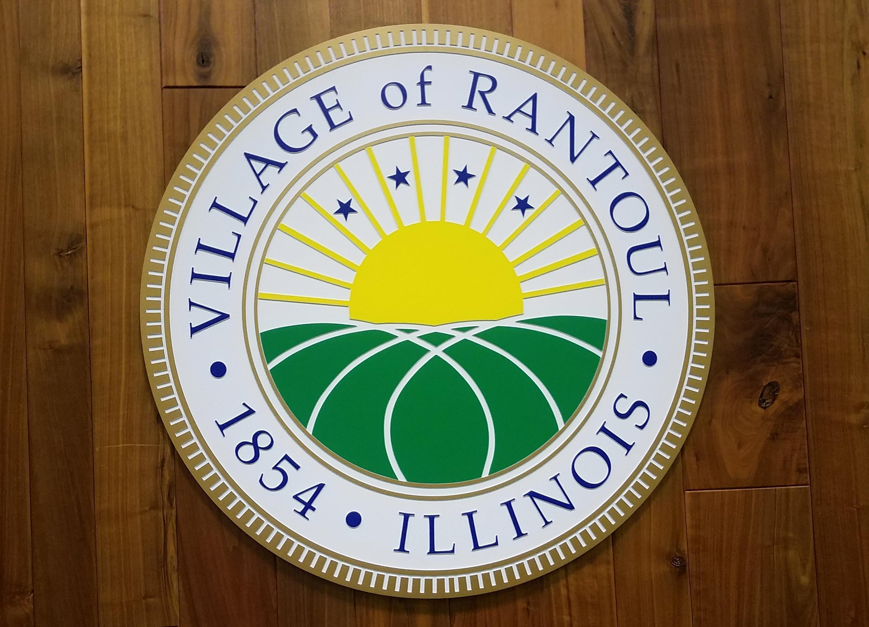 Rantoul village seal, displayed on the wall of the village boardroom.