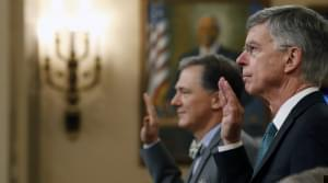 William Taylor George Kent are sworn in to testify before the House Intelligence Committee on Wednesday.