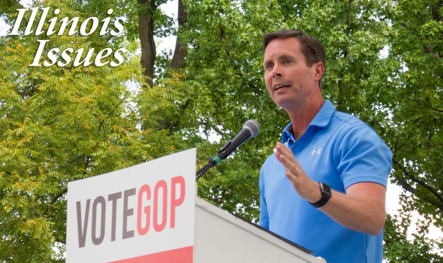 Congressman Rodney Davis speaks at a Republican Day rally at the 2019 Illinois State Fair.