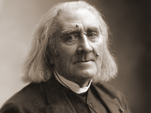 Black and white portrait of Franz Liszt.