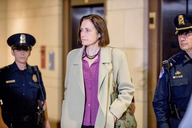 Fiona Hill arrives for a closed door meeting as part of the House impeachment inquiry into President Donald Trump on Capitol Hill in Washington.
