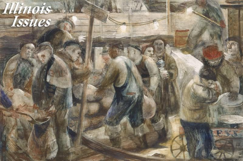 Wendell Jones' 'Sandbagging the Bulkheads' was a study for a post office mural in Cairo, Illinois. It shows citizens from different social classes working together to save the town from flooding.
