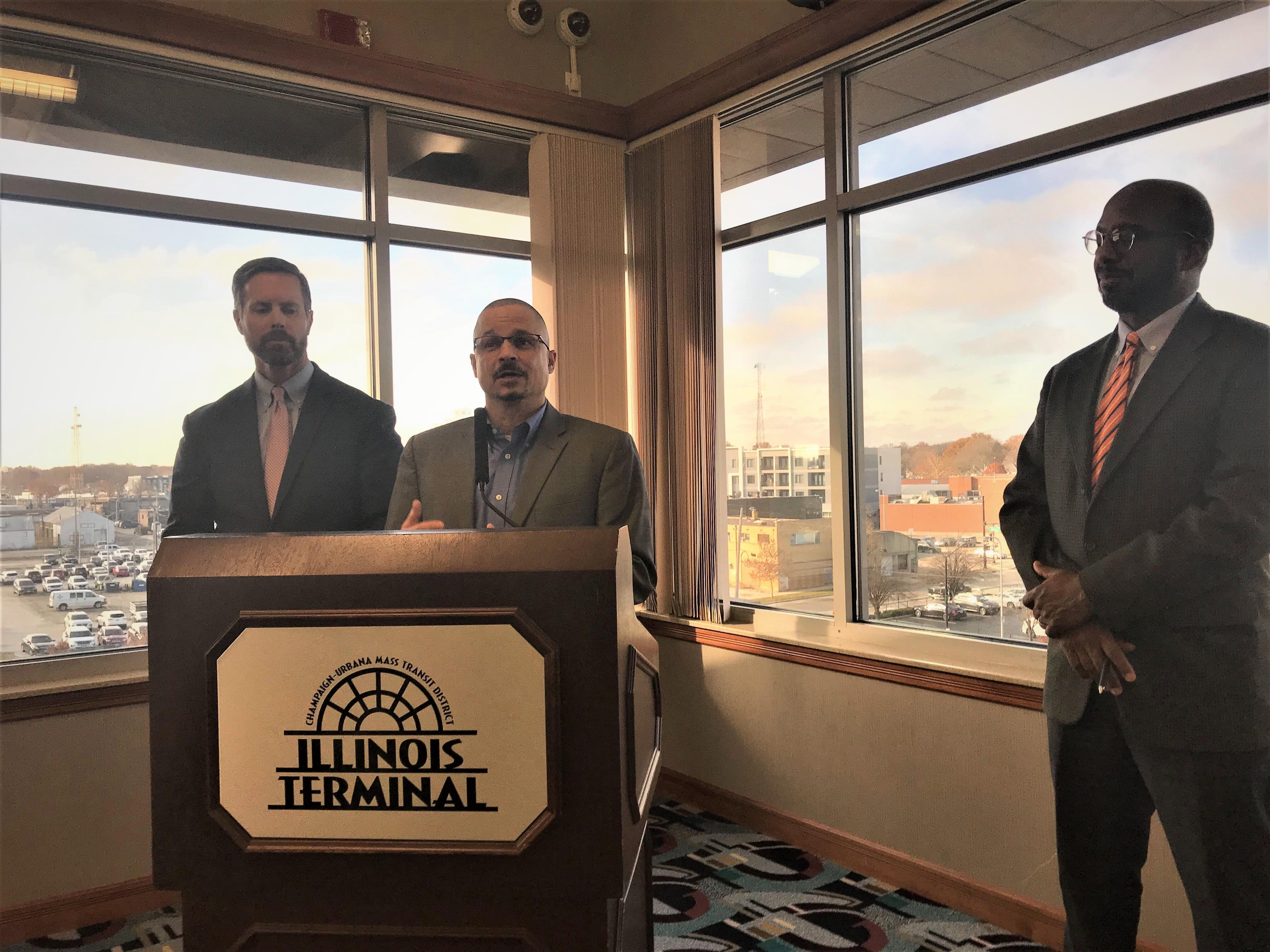 Karl Gnadt with the Champaign-Urbana Mass Transit District discusses a grant award at the Illinois Terminal on Friday.