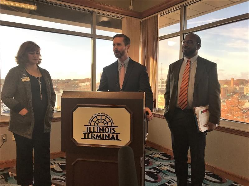 U.S. Representative Rodney Davis speaks after meeting with rail and local officials Friday in Champaign.