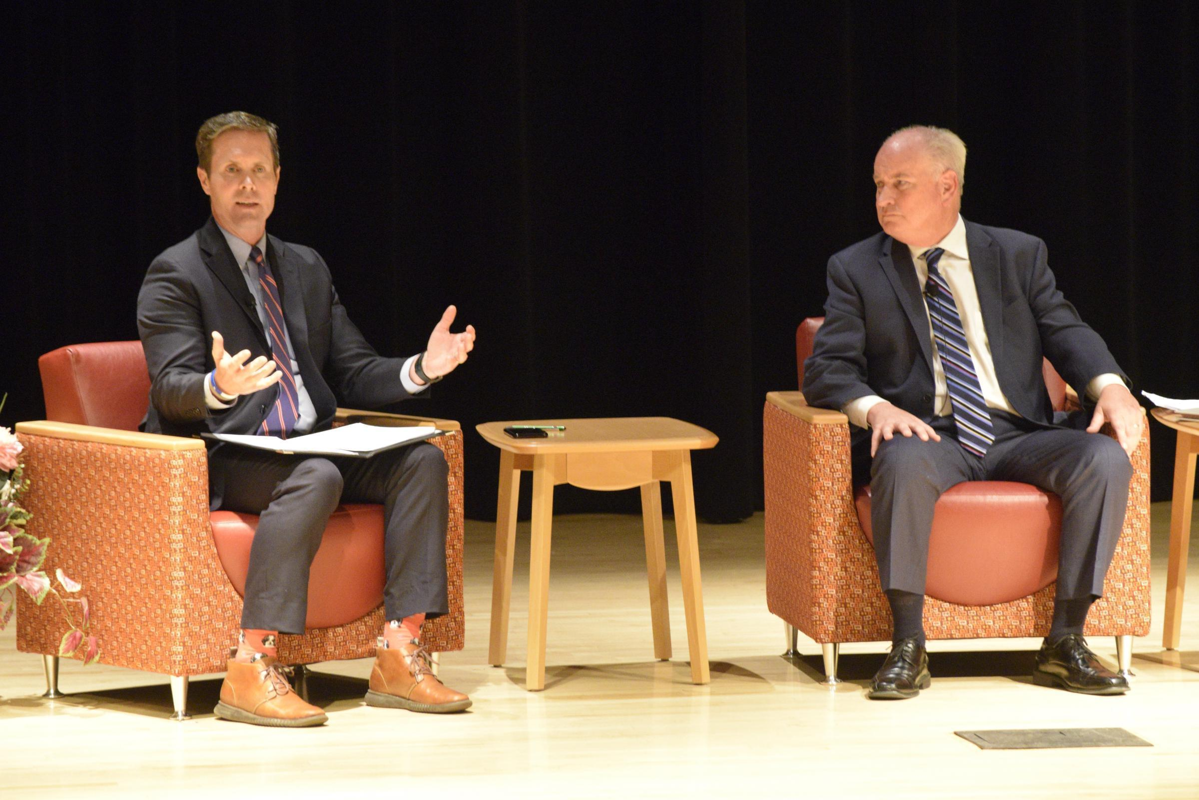 U.S. Rep. Rodney Davis, left, and state Rep. Dan Brady at the Open Government Night event Monday, Nov. 25, 2019, in Normal.