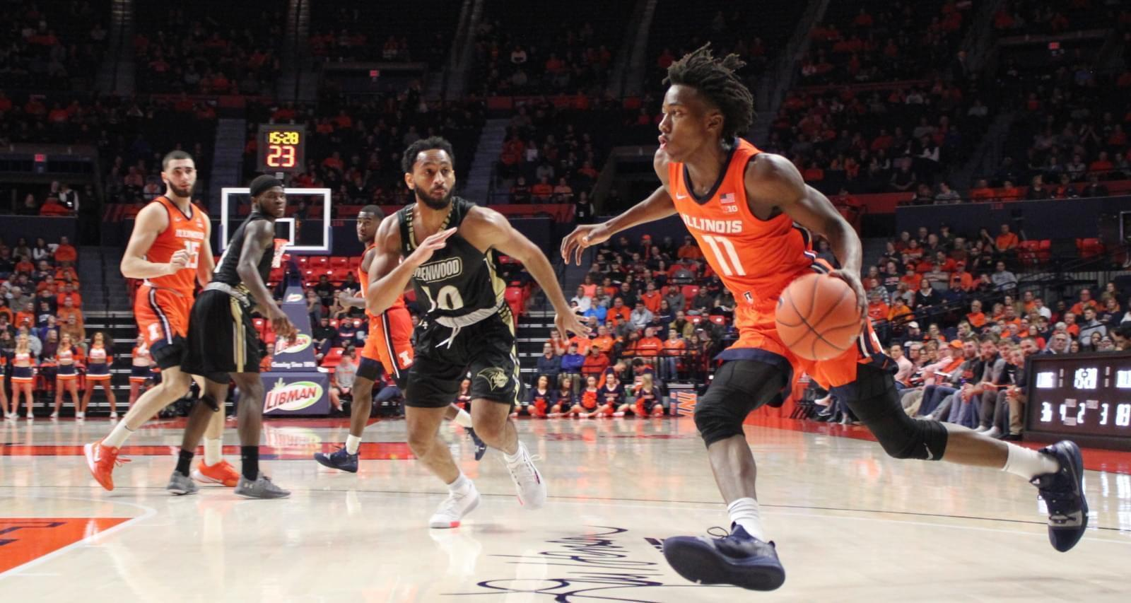 Ayo Dosunmu drives to the basket against Lindenwood Tuesday night in Champaign.