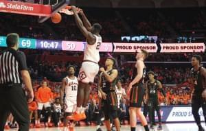Kofi Cockburn converts two of his team-high 23 points Monday against Miami.