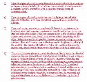 Excerpt of new rules regarding use of restraints.