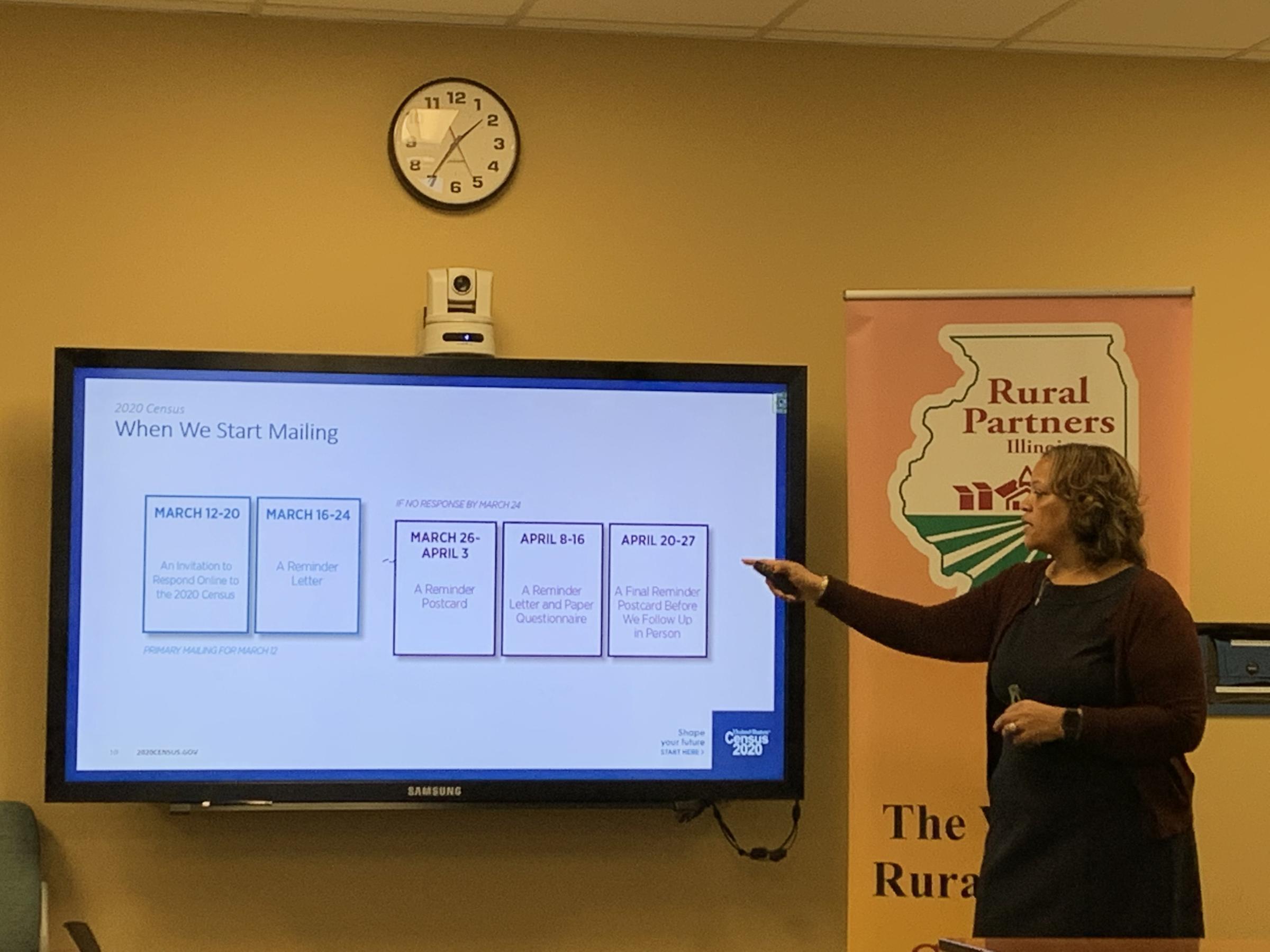 Elissa Johnson, regional director for the U.S. Census Bureau, presents to Illinois Rural partners.