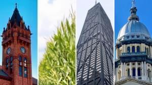 Composite photo of buildings around Illinois