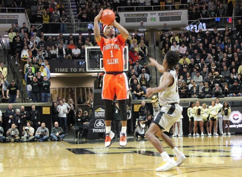 Illinois' Trent Frazier connects on one of his five three-pointers during a 79-62 win at Purdue Tuesday night.