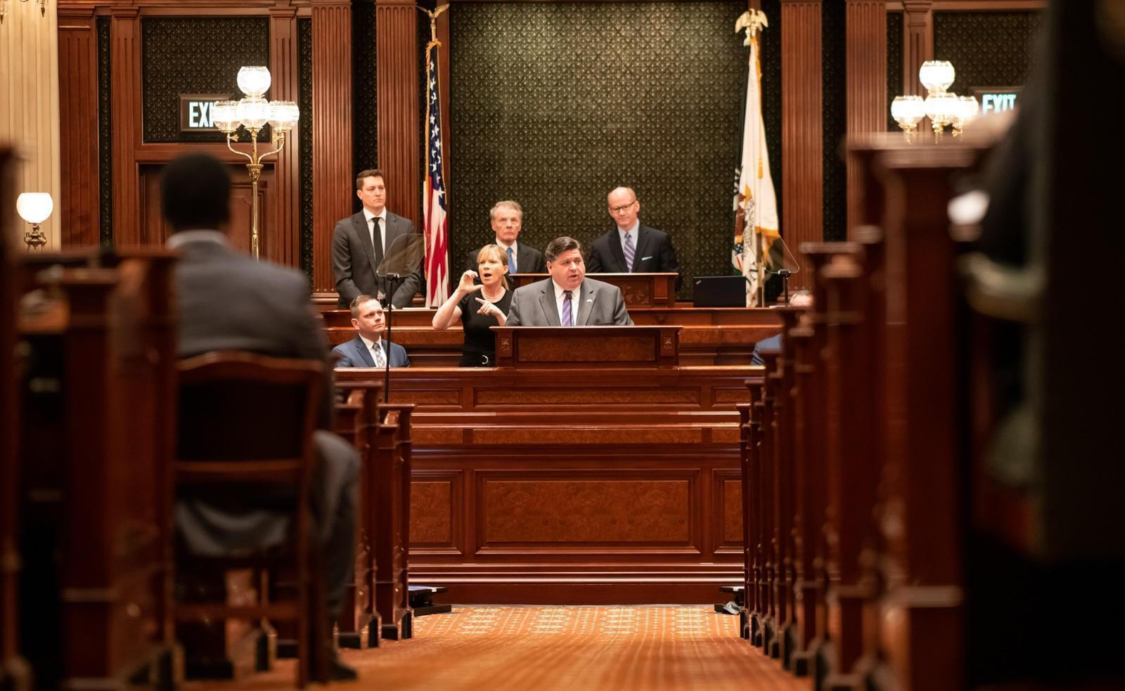 Gov. J.B. Pritzker delivers his State of the State address to the General Assembly in this photo provided by the state of Illinois.