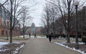 University of Illinois campus on a wintry day, students walking.